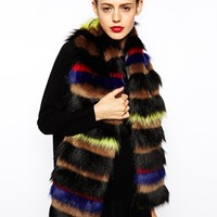 ASOS Faux Fur Multi Stripe Scarf