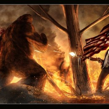 Teddy Roosevelt Vs. Bigfoot  Print 11x17 HQ Print
