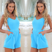 Blue Backless Romper with Pocket - Blue/Yellow