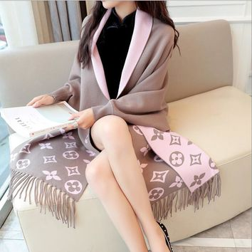 2018 Autumn New Women Elegant Tassel Wrap Swing Cardigan Knitted Oversized Sweater Scarf Cape Poncho Long Cardigan Winter