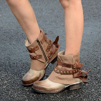 Studs Leather Strap Round Toe Ankle Boots Cowboy Style Med Heel Ankle Buckles Boots
