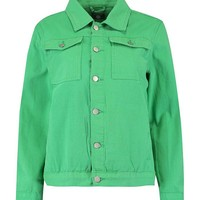 Green Oversize Denim Jacket | Boohoo