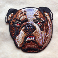 Realistic Bulldog Iron On Embroidery Patch