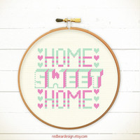 Home Sweet Home cross stitch pattern - Home Sweet Home with Hearts - Xstitch Instant download - Funny Colorful Simple Love Sweet Typographic