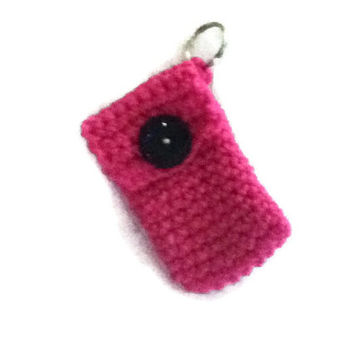 Dark Pink Keychain Pouch With Black Glitzy Button - Super Hot for any Girly Girl