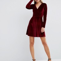 ASOS Wrap Skater Dress in Velvet at asos.com