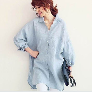 Plus Size Women's Fashion Korean Long Sleeve Linen Tops Shirt Womens Blouse [9133914636]