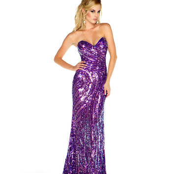 Mac Duggal Prom 2013 - Strapless Purple & Multi-Color Sequin Gown - Unique Vintage - Cocktail, Pinup, Holiday & Prom Dresses.