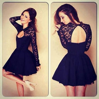 Black Long Sleeves Cocktail Prom Dress with open back /keyhole back/lace sleeves prom dress/Sexy Short Prom Dress/Party Dress