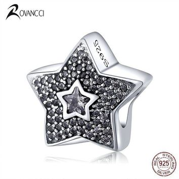 ac spbest Authentic 925 Sterling Silver Bead Fashion Star With Star Crystal Beads Fit Original Pandora Charm Bracelet & Bangle DIY Jewelry