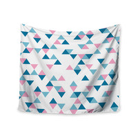 "Project M ""Triangles Pink"" Blush Blue Wall Tapestry"