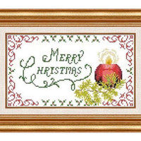 Merry Christmas -  PDF Cross Stitch Pattern - INSTANT DOWNLOAD