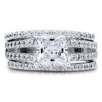 BERRICLE Sterling Silver Princess Cut Cubic Zirconia CZ Solitaire Womens Stackable Ring Set