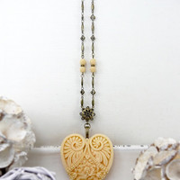 Resin Heart Pendant Necklace, Big Heart Jewelry, Large Heart Necklace, Light Yellow Necklace, Long Necklace, Victorian Jewelry