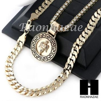 "ICED OUT ANGEL ROUND TENNIS CHAIN DIAMOND CUT 30"" CUBAN LINK CHAIN NECKLACE S044"
