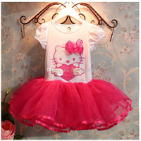 New Girls Children Cartoon Kitty Gauze TUTU Dress 5 pcs/lot Girls Baby Summer Cute Kitty Cartoon Princess Dress