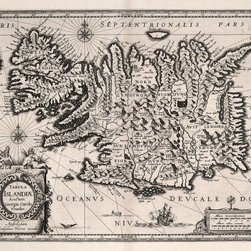 Old Map of Iceland 1630, Iceland Map, Antique Map, Home Decor, Travel Graduation- CP091