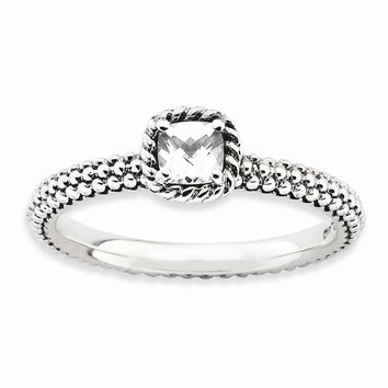Sterling Silver Stackable Expressions Checker-cut White Topaz Antiqued Ring