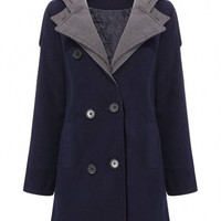 Navy Blue Coat with Oversize Lapel