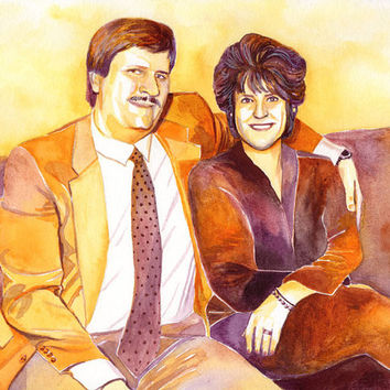GOLDEN 50th wedding ANNIVERSARY GIFT for parents - Watercolor portrait painting