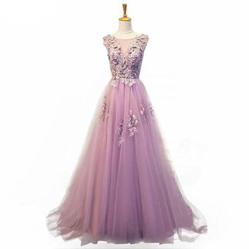Romantic Tulle With Flowers Evening Dress Scoop Neck A-line Evening Dresses Prom Dress
