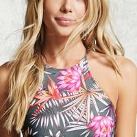 Tropical High Neck Bikini Top