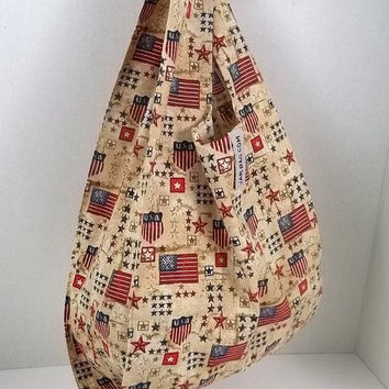 Foldable Lunch Bag - U.S. Flag Motif Print (Beige) // Small Grocery Bag with Hook and Strap // FOLDBAG | reusable shopping bag, reusable bag