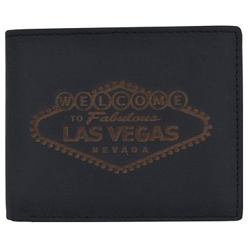 RFID Mens Welcome to Fabulous Las Vegas Nevada Leather Bifold Wallet