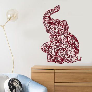 Vinyl Wall Decal Elephant India Hindu Hinduism Nursery Decor Stickers Unique Gift (1399ig)