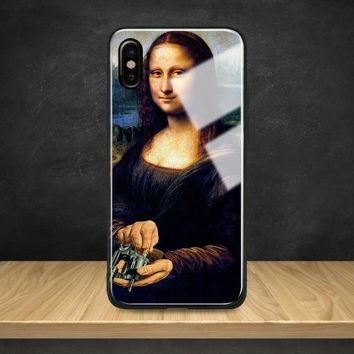 Mona Lisa funny art aesthetics Tempered Glass Soft Silicone Phone Case Shell Cover For Apple iPhone 6 6s 7 8 Plus X XR XS MAX
