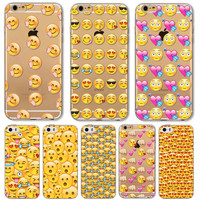 Emoji Emoticons Case For Apple iPhone 6 6s 6Plus 6s Plus 5 5s Transparent Silicon Soft TPU Phone Cover Funky Design