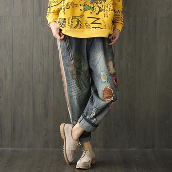 Women Loose Retro Patchwork Holes Floral Print Denim Darem Pants Elatic Waist Bleached Ripped Pleated Jeans Harem Trousers