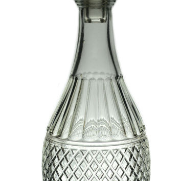 Moulded Glass Brandy Decanter, Vintage English, Early 1900s