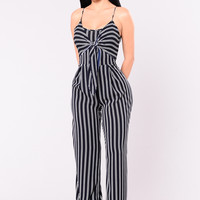 Just Living Jumpsuit - Navy/Ivory