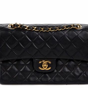 CHANEL BLACK QUILTED 2.55 LAMBSKIN VINTAGE SMALL CLASSIC DOUBLE FLAP BAG GHW 12