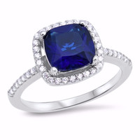 Sterling Silver CZ Simulated Blue Sapphire Simulated Diamond Halo Ring