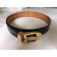 Louis Vuitton  black gloss leather belt with gold coloured buckle - genuine
