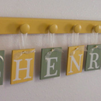 Tractor Nursery Decor, Yellow and Green Farm Wall Artwork, 7 Pegs and Hanging Ribbon Letters Personalized HENRY Tractor Art Baby Shower Gift