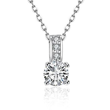 Simulated Diamond Solitaire Drop Necklace Set in 18K White Gold