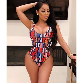 FENDI Fashion Women Sexy Colorful F Letter Print Sleeveless Bodysuit Skirt Set Two-Piece