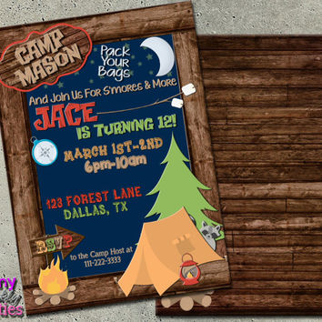 CAMPING BIRTHDAY INVITATION - Camping Sleepover Invitation - Camping Party Invite - Camp In Invitation - Outdoor Birthday - lake party tent
