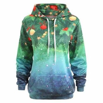 Christmas Printed Tunic Hoodie - Green One Size