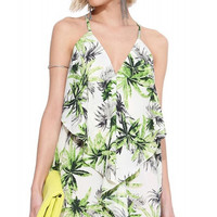 Palm Tree Printed Halter Mini Dress