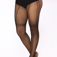 Show And Tell Fishnet Tights - Black