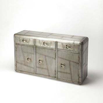 Yeager Aviator Industrial Modern Rectangular Console Cabinet Gray