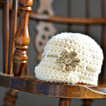Crochet Baby Girl Newsboy Hat w/ Flower - Size 0-6 months - Chunky Baby Cap