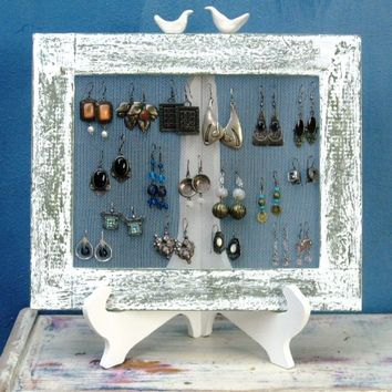 Shabby Chic Home Decor EARRING HOLDER / Cream / 25 - 35 Earrings  *** Buy 1 From The Shop And Get 1 Small Gift ***