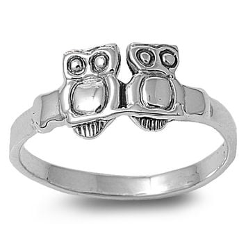 Sterling Silver Double Owl Ring