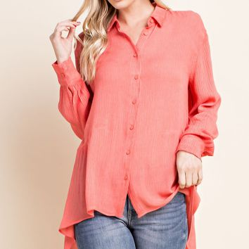 Washed High-Low Button Down Top