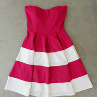 Swing & Stripe Dress in Fuchsia [5232] - $42.00 : Vintage Inspired Clothing & Affordable Dresses, deloom   Modern. Vintage. Crafted.